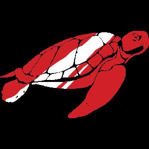 Schildkröte Tauch Flagge Meer Taucher Geschenk