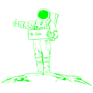Astronaut per Anhalter durch die Galaxie gruen