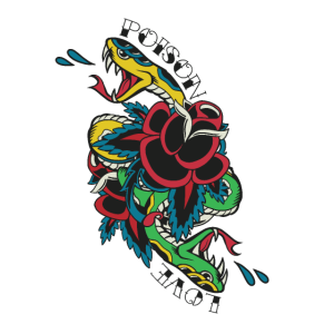 Traditionelles Schlangen Tattoo mit Poison Schrift
