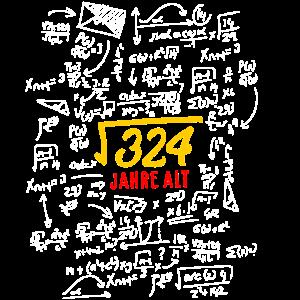18. Geburtstag Wurzel aus 324 Mathe Genie Geschenk