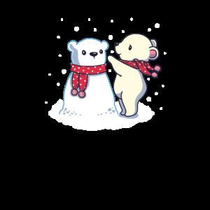 Nettes Eisbär-Tierhaustier mit Schneemann-Geschenk