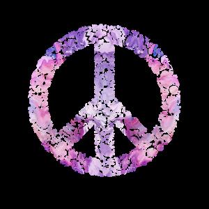 Friedenszeichen pink mit Blumen