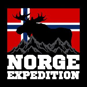 Norwegen Expedition Berge Elch Flagge