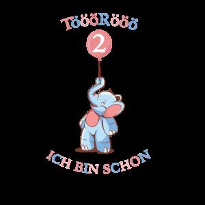 Kinder Shirt TööRöö Elefant Ballon 2. Geburtstag