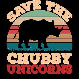 Retro Vintage Sunset Save The Chubby Unicorns