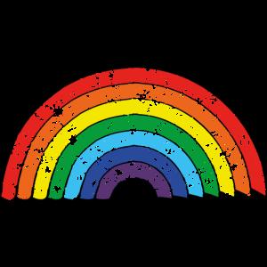 Regenbogen im Comic Stil und Used look