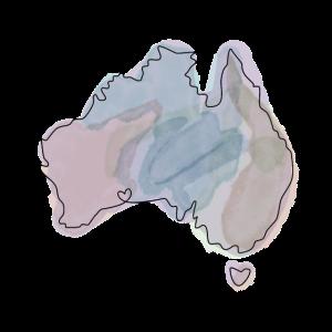Australien Umriss Wasserfarben