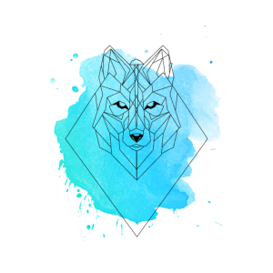 Poster Watercolor geometric Wolf