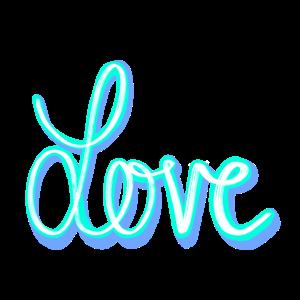 Love Schriftzug Blau Bunt in Farbe
