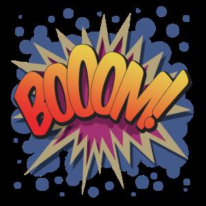 Boom! - Pop Art, Comic-Stil, Text Burst.