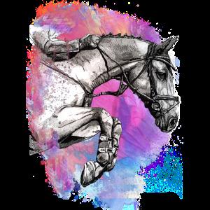 PFERD springende Hindernisse mit Pferd Pferd