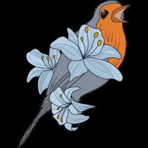 Vogel mit Lilien