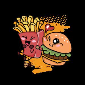 Burger Pommes Fritten Liebe Valentinstag