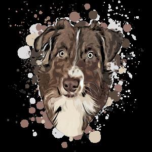 Australian Shepherd Hundekopf - Aussie Comic-Style