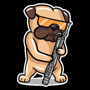 Hund spielt Fagott