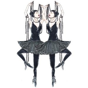 Tänzerinnen, Zwanziger Jahre Ballerina mit Perlen