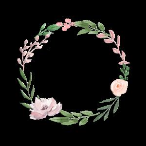 Personalisierbar Blumenkranz Beige Rosa Grün