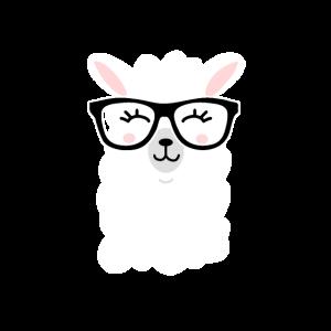 Lama Süß Nerd Streber Alpaka Brille Cool haustier