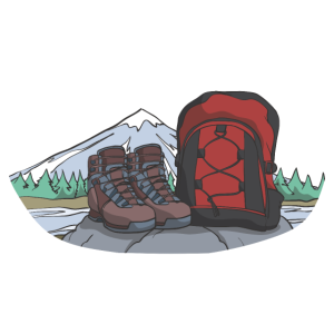 Wanderschuhe und Rucksack Bergwandern