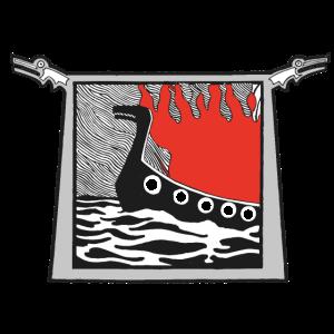 Brennendes Wikingerschiff