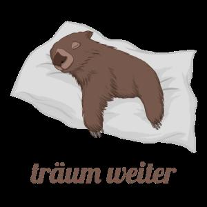 Träum weiter / Wombat auf Kissen