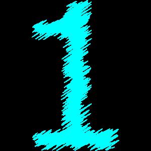 Zahl Nummer 1 Schraffur