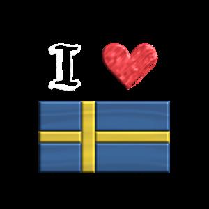 Ich liebe Schweden Flagge 3 D