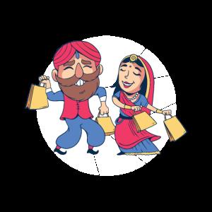 Indisches Ehepaar geht shoppen