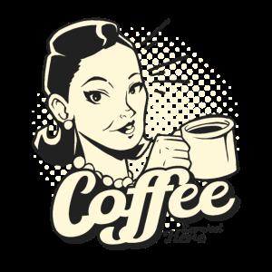 American Diner Stil retro Lady mit Kaffee Tasse
