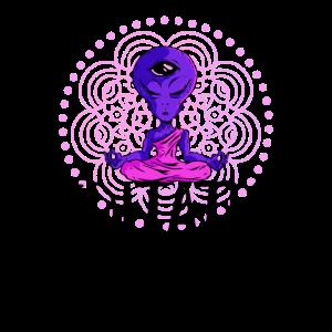 Meditation Yoga Yogi Geschenk Alien