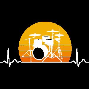Schlagzeug Herzschlag Retro Schlagzeuger Geschenk