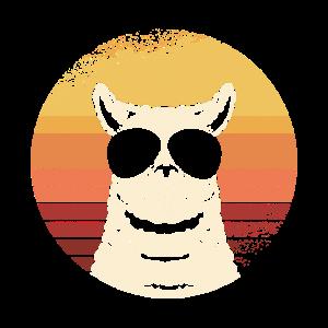 Vintage Lama Lustiges Lama Geschenk Sonnenbrille