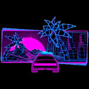 Retrowave Sportwagen Palmen Vaporwave 80s