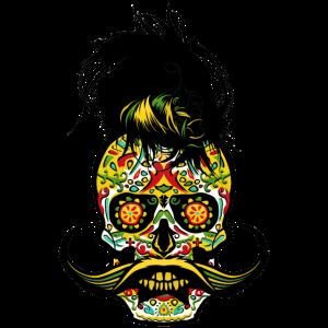 Schädel mexikanischen Hipster Kran Punk Schnurrbart
