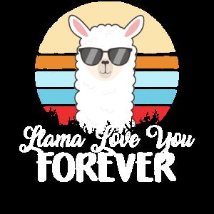 Lama-Liebe Sie für immer Vintager Valentinstag