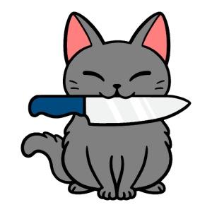 Fröhliche Katze mit Messer