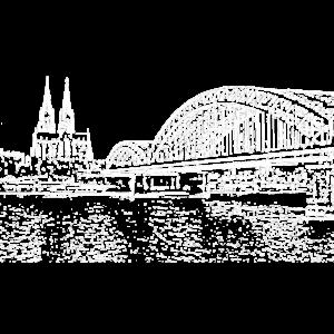 Köln Kölle CGN Cologne Colonia schwarz weiss Dom