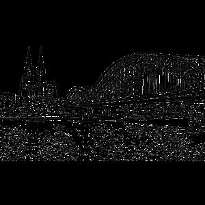 Köln Kölle schwarz Domblick mit Brücke und Rhein