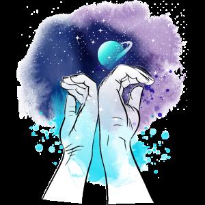 Galaxy hands illustration