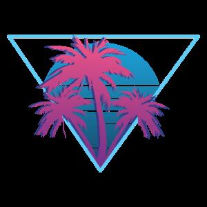 80er Jahre Retro Neon Palmen