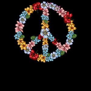 Hippie Peace Zeichen Blumen 60er 70er