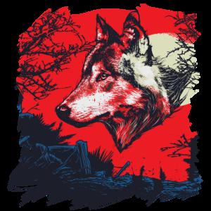 Wolf bei Nacht,Outdoor Spirit Natur,Wölfe Shirt