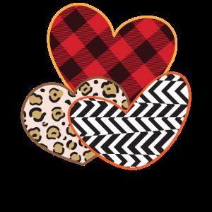 Herz für Liebe - Leo Karo Tiger Muster mit hearts