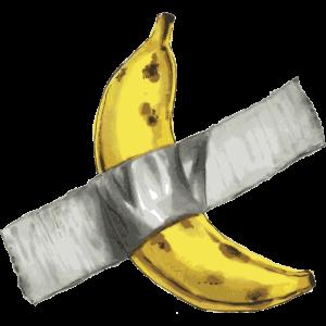 Lächerliche Kunst - Banane klebte an der Wand