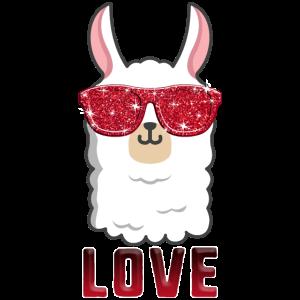 Liebes-Lama-Valentinstag-Frauen-Funkeln-Rot