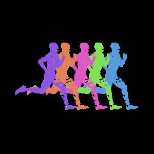 Marathon Läufer laufen bunt