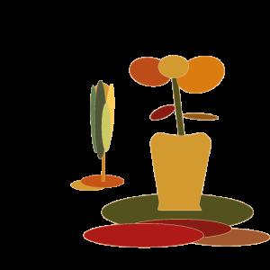 Blumentopf Arrangement mit Baeumchen