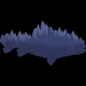 Fisch Silhouette Wald Illustration Zeichnung