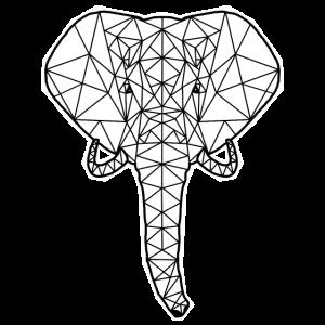 Geometrischer Elefant im Polygon-Design