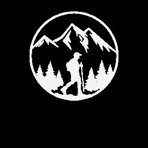 Wandern - Wanderer mit Bergen und Wald Kreis
